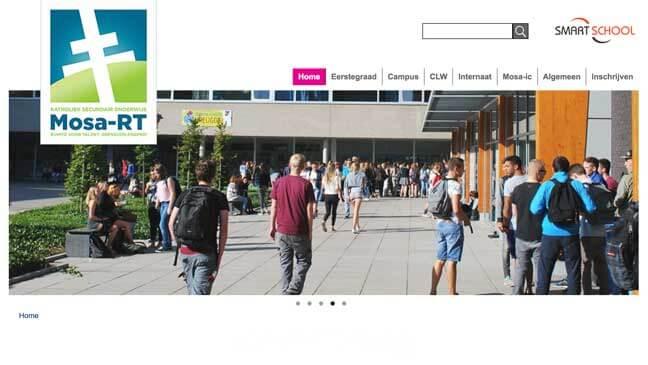 Homepage waar Smartschool prominent in beeld staat rechts bovenaan