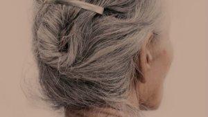 achterhoofd van vrouw met grijze haren