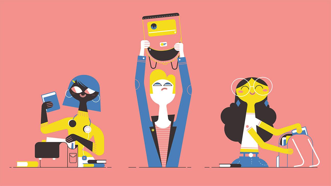 Illustratie met 3 figuurtjes, waarvan eentje met lege boekentas