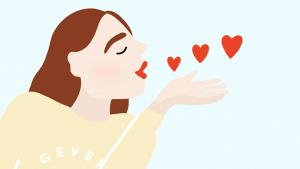 Illustratie van meisje die hartjes uitdeelt