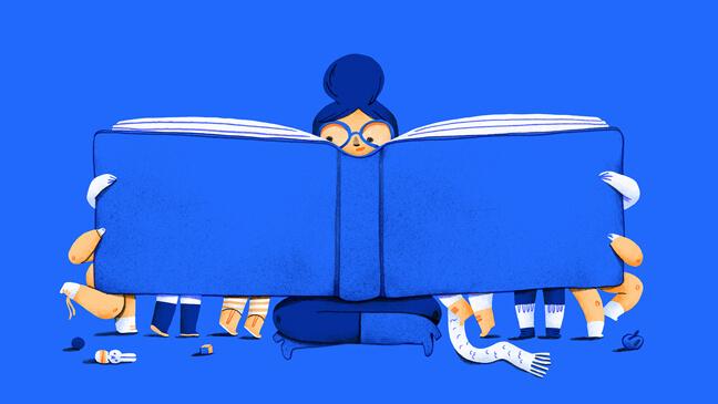 Illustratie: Juf met groot boek waar achter kinderen meelezen