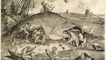 zwart-witprent met walvis en Bruegelfiguren