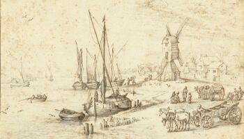 tekening van boot op water