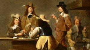 schilderij met mannen die kaartspelen