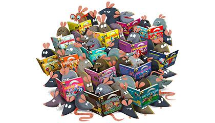 Illustratie van muizen die een boek lezen