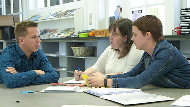 leraren wiskunde Cindy Baert, Steven Demeyer en Elke Vanacker van het IHKA