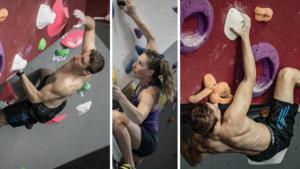 foto's aan de klimmuur van het 'Klimkaffee'