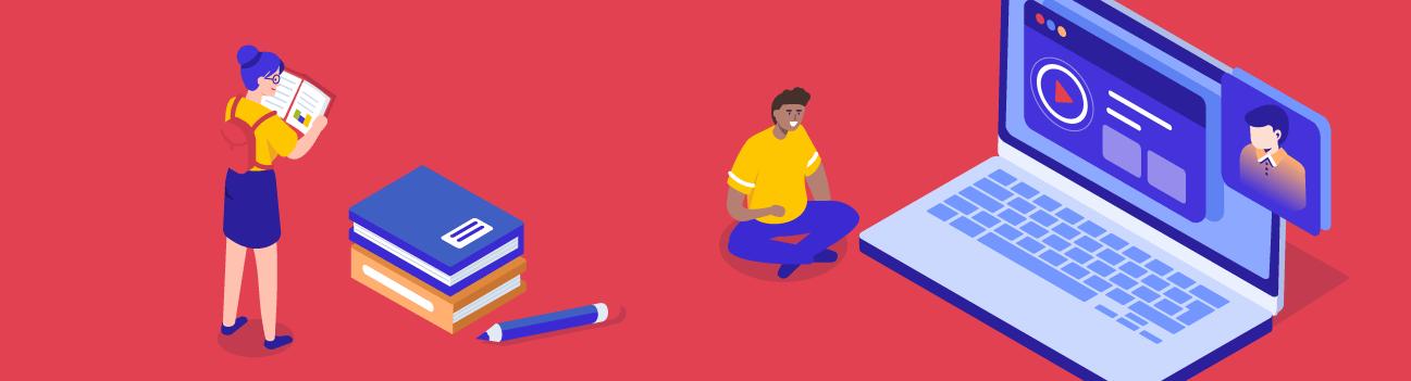 Illustratie: Leerlingen doen aan afstandsleren met laptop