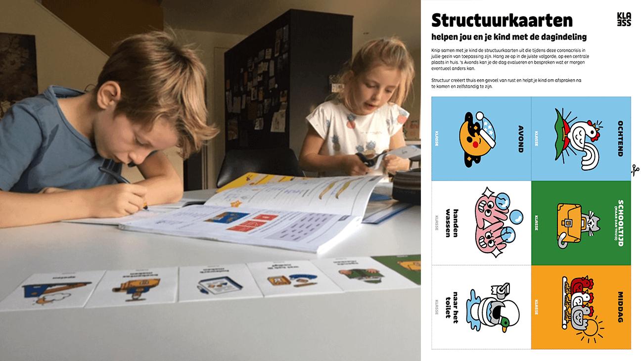 Kinderen werken thuis zelfstandig aan hun taken van school