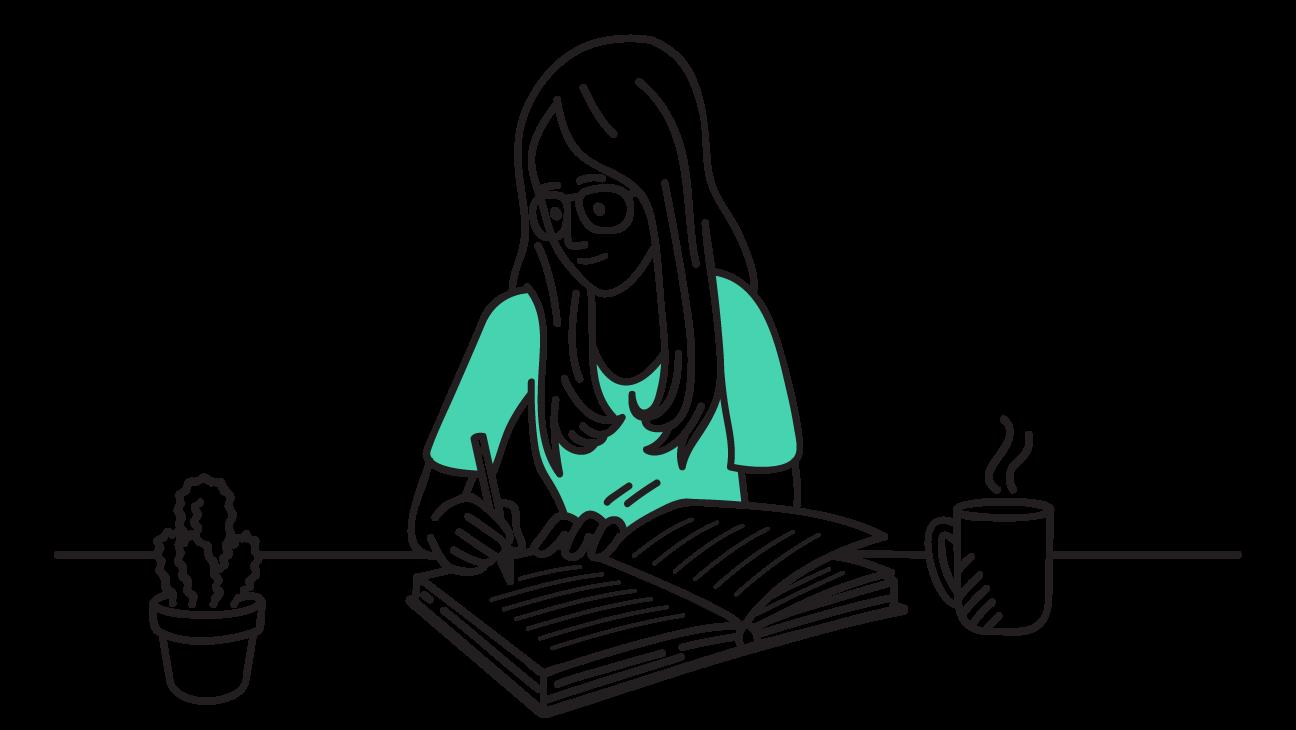 illustratie van meisje die in een dagboek schrijft