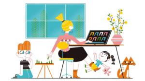 illustratie thuiswerkende, multi-taskende leraar