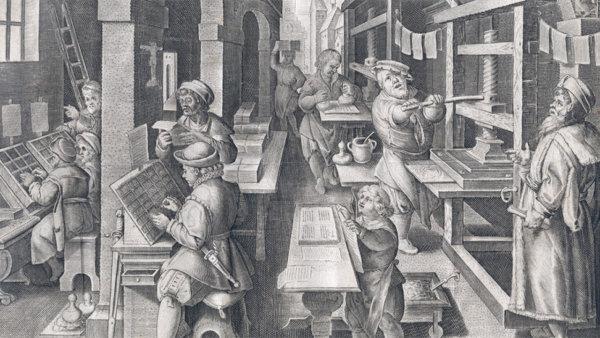Schilderij van mensen bezig met boekdrukkunst