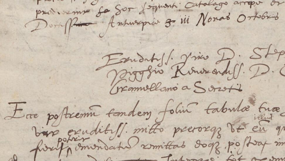detail uit een brief van Plantin
