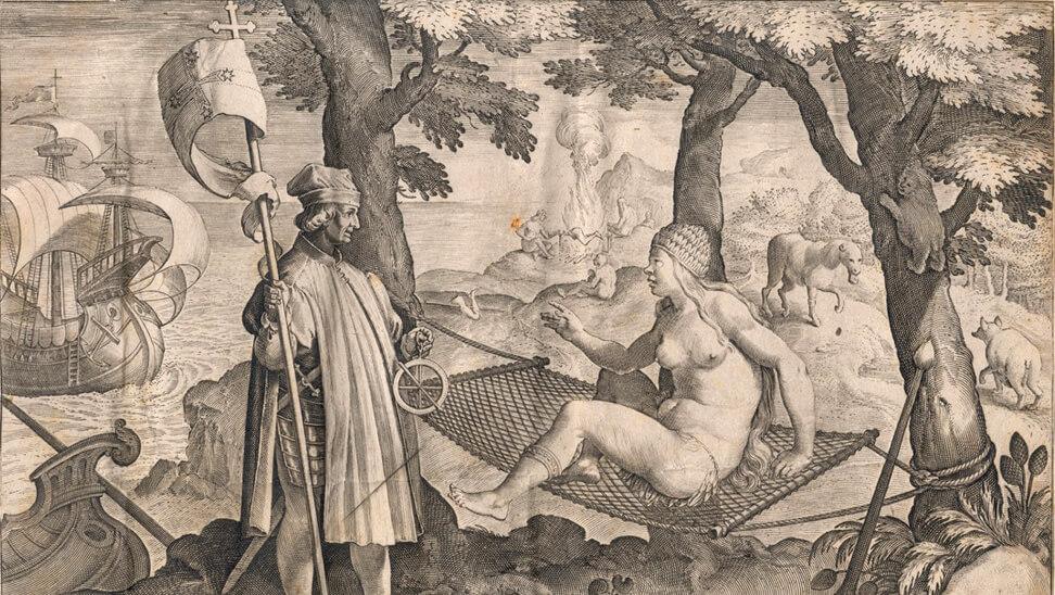Schilderij van mensen bij olijfpers