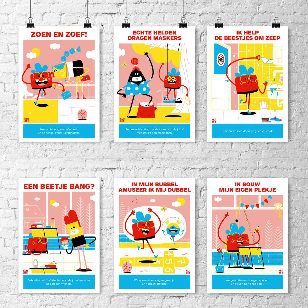 6 Posters over coronamaatregelen op kindermaat