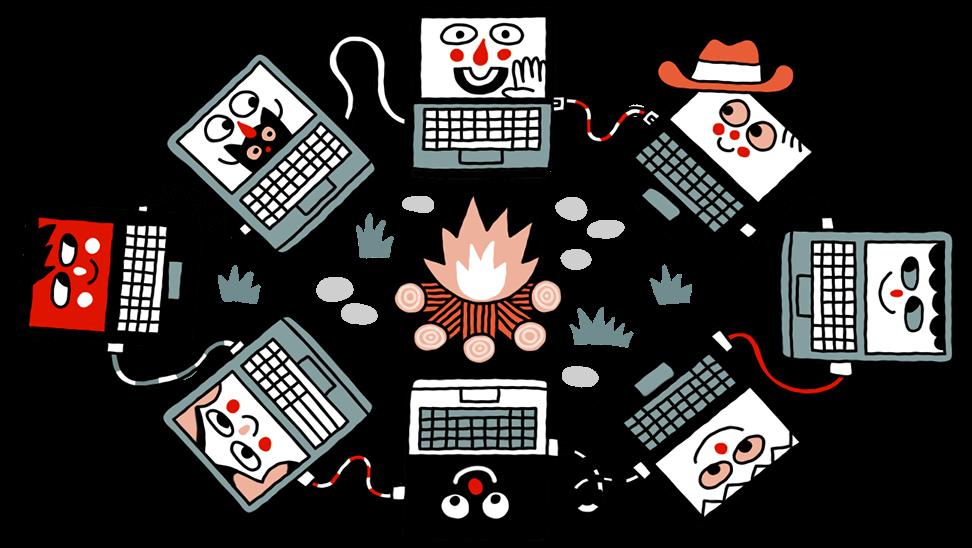Acht computers vergaderen rond een gezellig kampvuur.