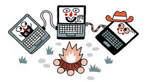 Computers vergaderen rond een warm kampvuur.