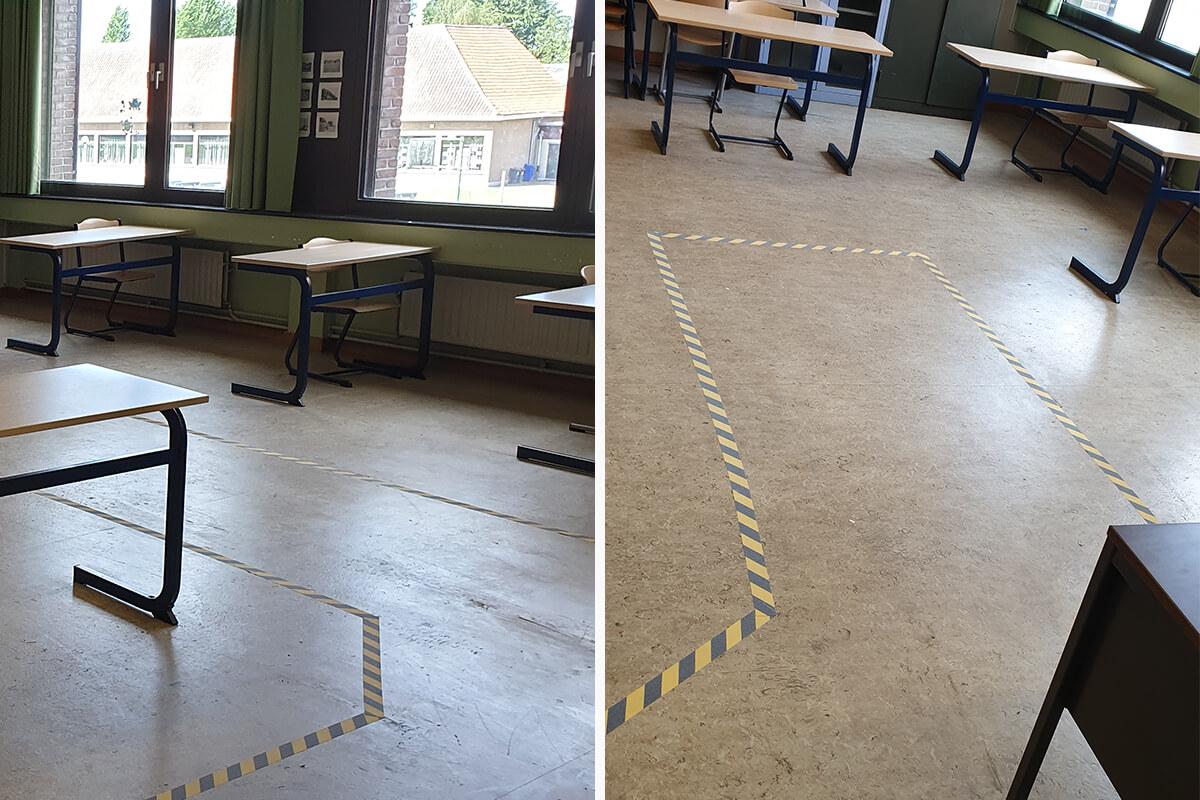 Binnen deze corridor kan de leraar veilig rondlopen door de klas.