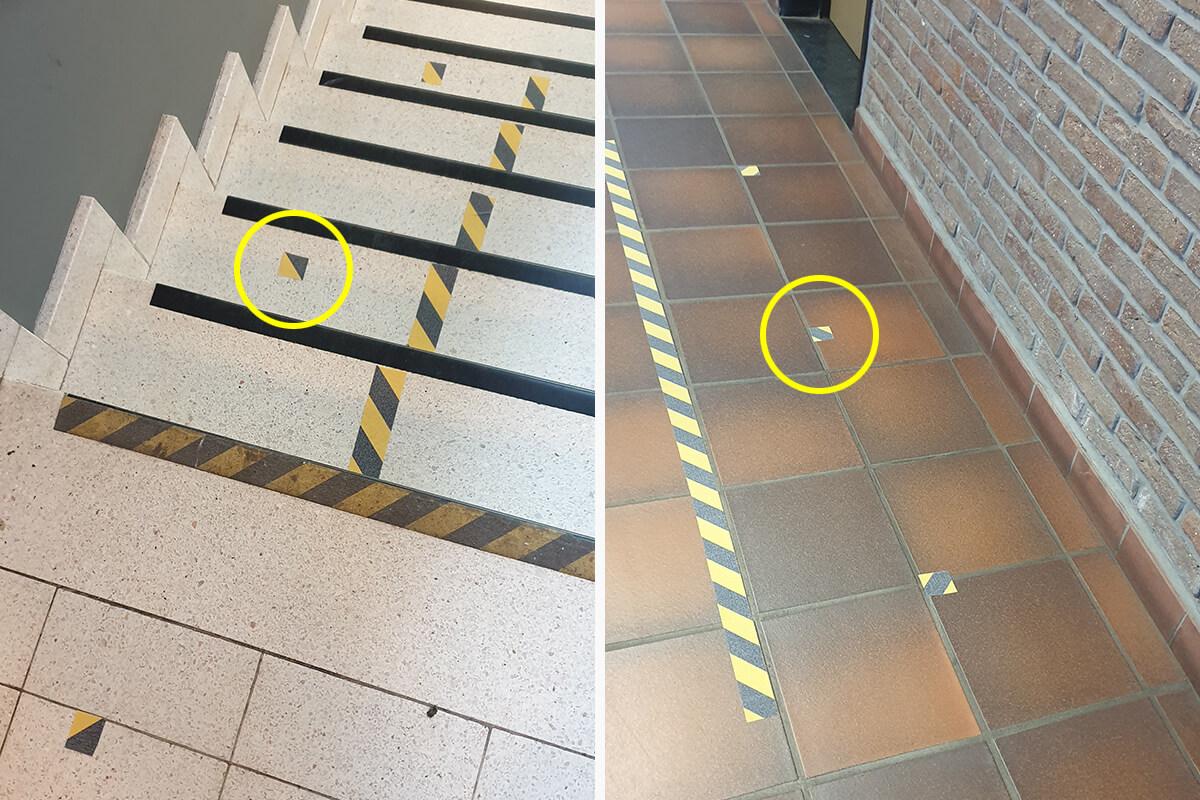 Loopregel in de gang en op de trap: laat 1 stip vrij tussen jou en de volgende persoon.