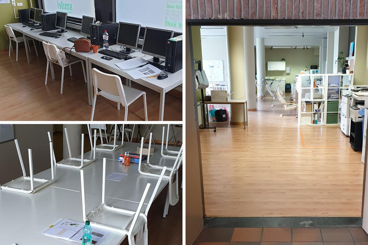 De lerarenkamer: open deuren, vaste plaatsen en altijd 1,5 m afstand.