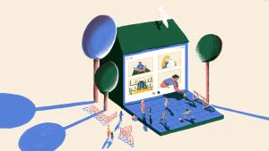 Illustratie van schoolgebouw dat ook een laptop is.