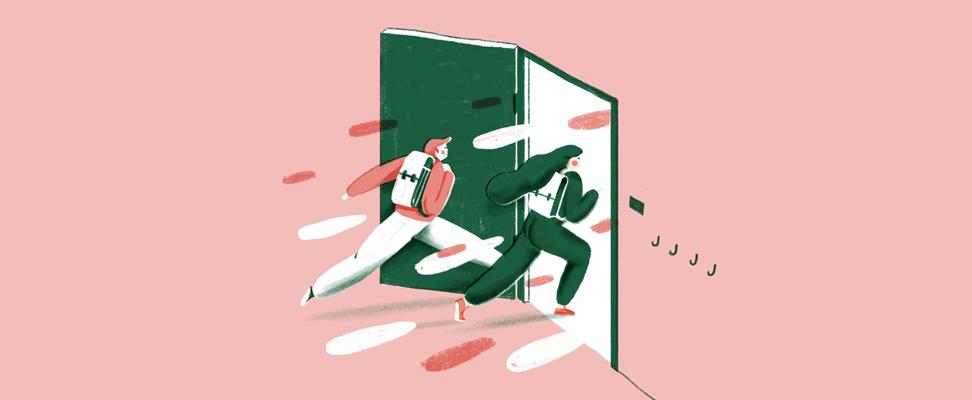 Illustratie van leerlingen die klas binnenlopen