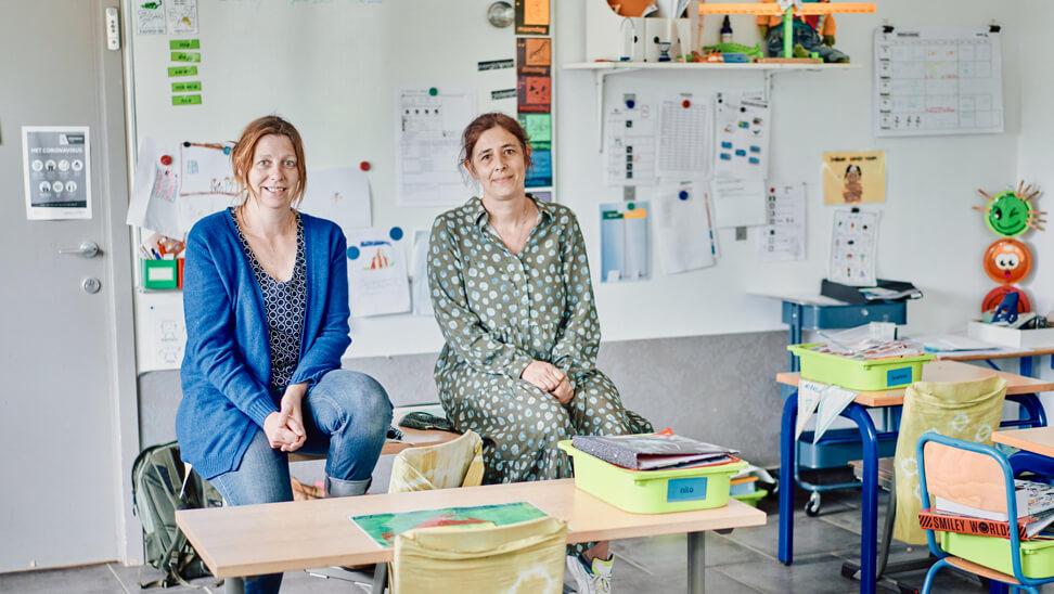 Inge Deblander en Nele Laes. Freinetschool De Boomhut, Alsemberg