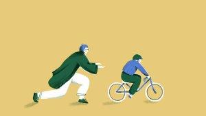 Illustratie: Ouder helpt kind fietsen