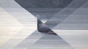 abstracte zwart-wit weergave van een duif