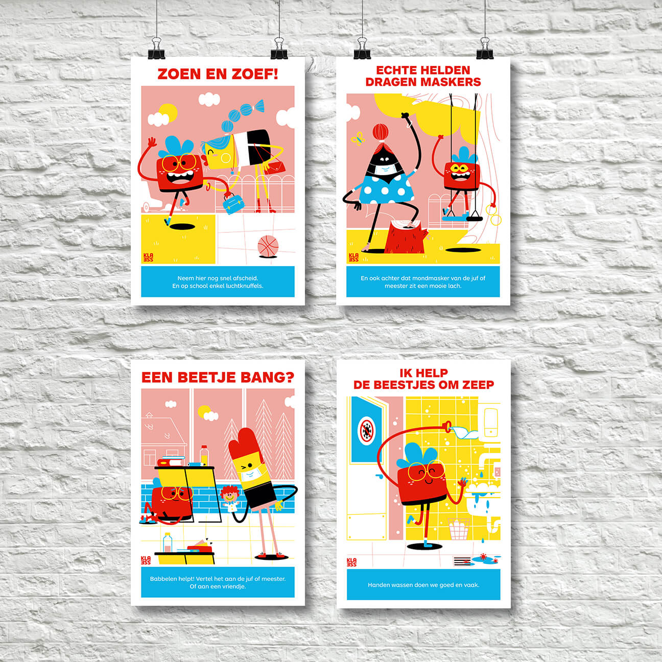 4 Posters over coronamaatregelen op kindermaat
