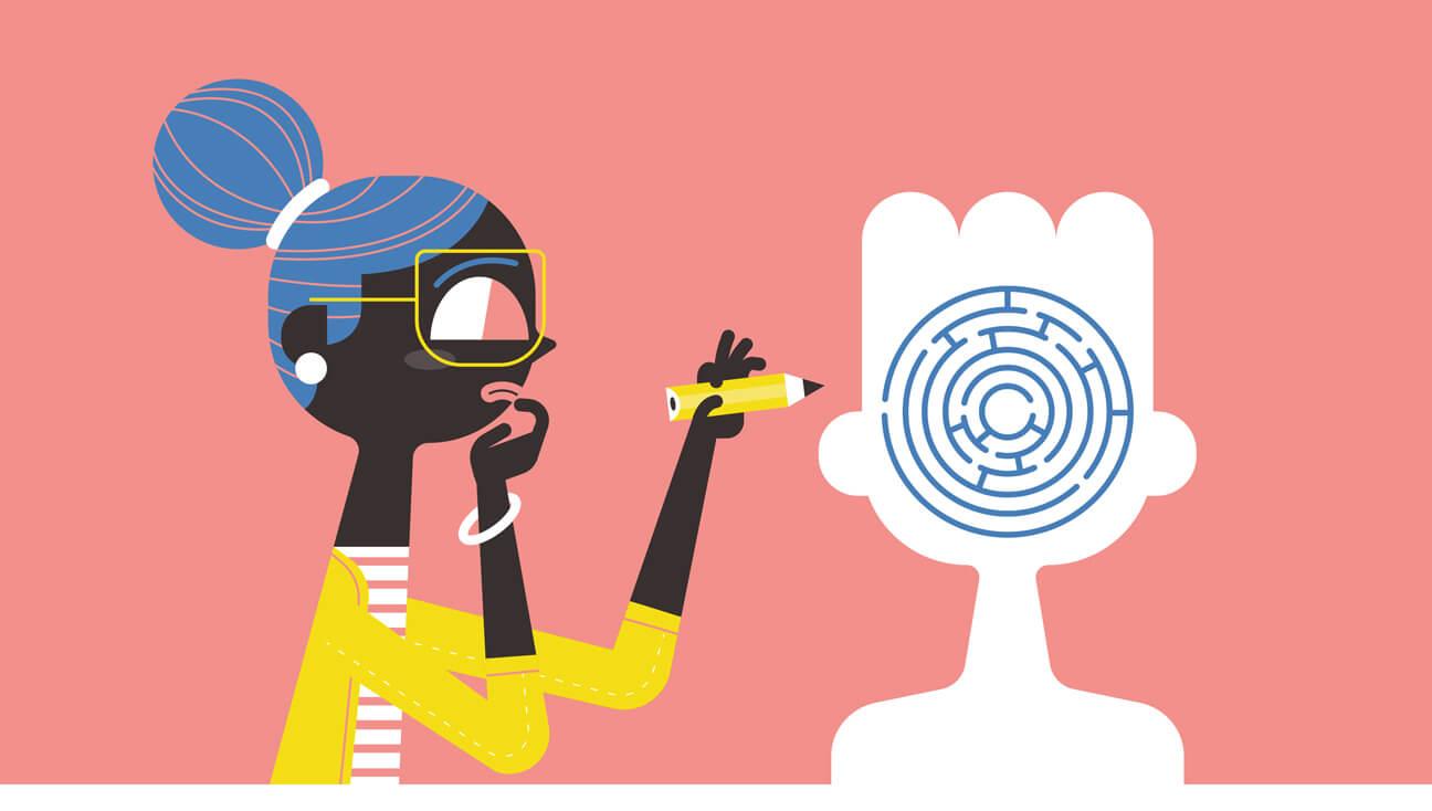 Illustratie autismevriendelijke klas: Leraar zoekt een weg in het doolhof van het hoofd van een leerling