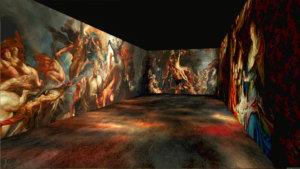 grote projectie van schilderijen
