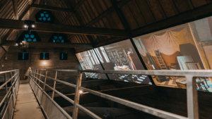 projectie van schildrijen op de zolder