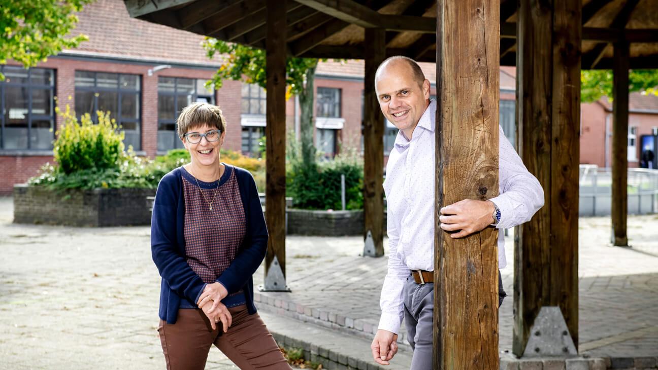 Portret van Pedagogisch directeur Marc Vandeweyer en wiskundeleraar Katelijne Simons van Provil Lommel