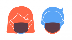Mondmaskers in het Lager Onderwijs: illustratie met jongen en meisje met mondmasker