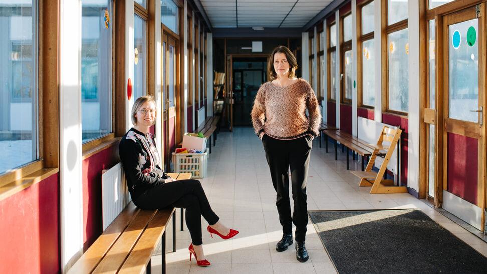 Sylvie Vanden Abeele, handelingsplancoach en Hilde Vervaele, directeur