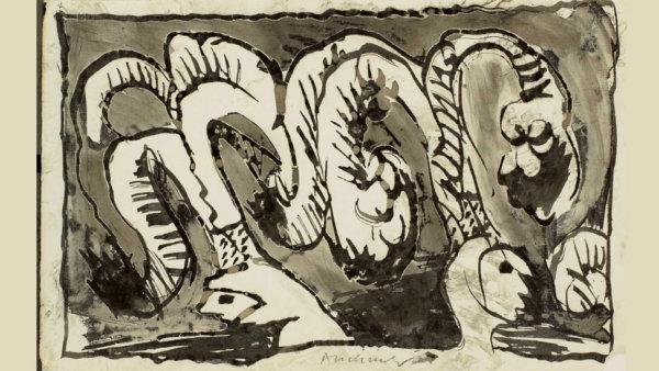 """Pierre Alechinsky, """"Wat Binche betreft"""", 1967"""