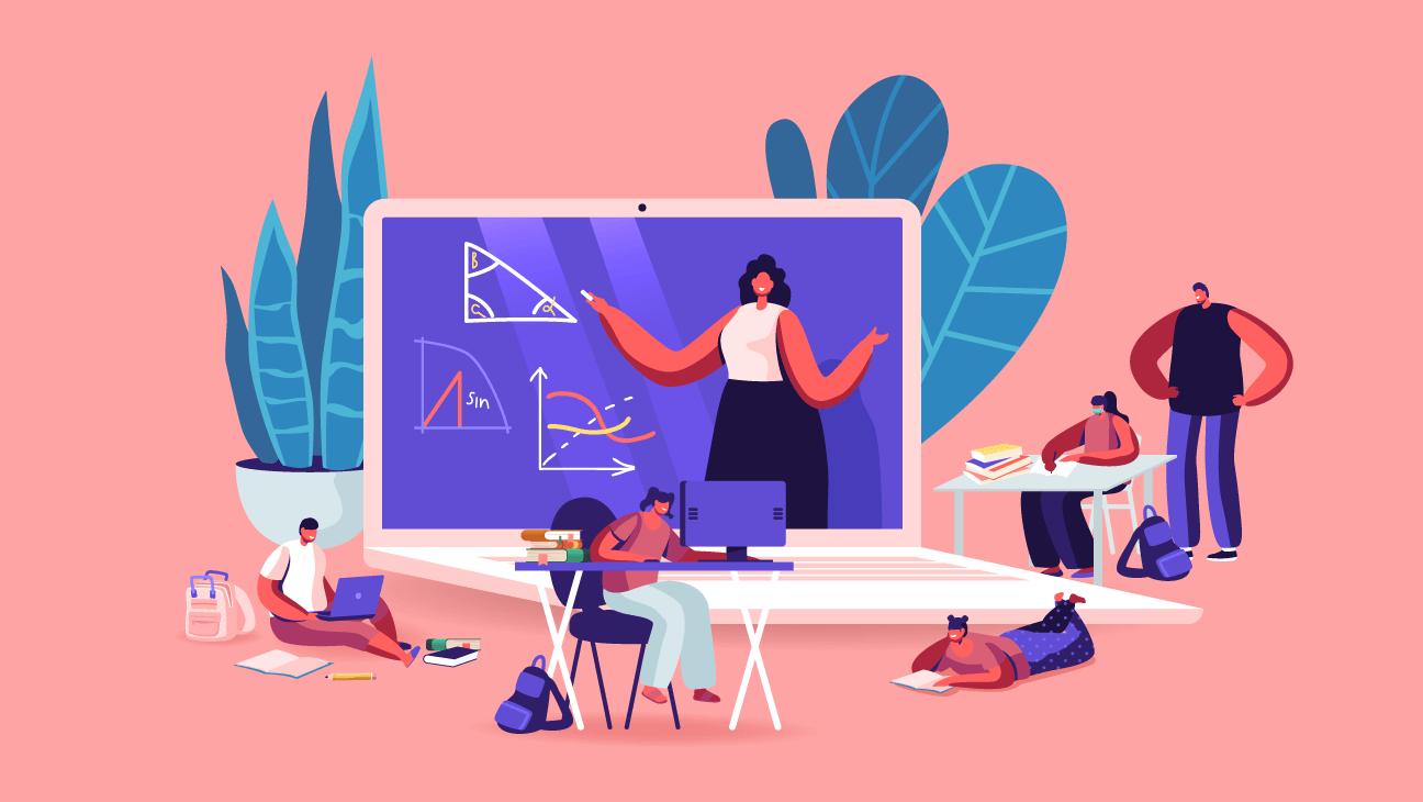 Illustratie: mix van online en klassikaal onderwijs