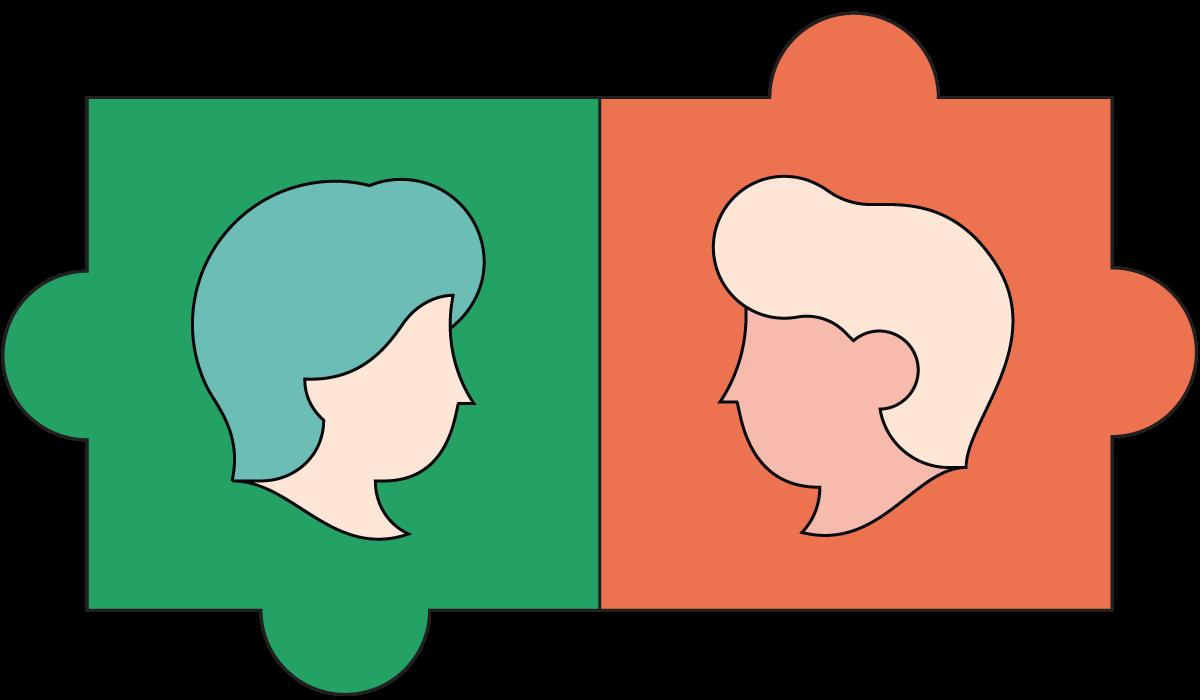 illustratie puzzelstuk met twee figuren die elkaar aankijken
