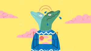 Stress tools klas: Illustratie van gestresseerde leerling met reptielenhoofd (reptielenbrein)